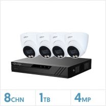 NVR Kit- 8 Channel 1TB Recorder with 4 x 4MP Fixed Eyeball Cameras (White), BDL-NVR-4TUR-KIT