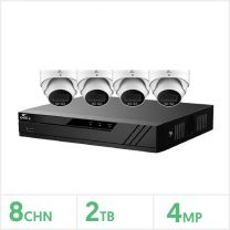 Eagle IP CCTV Kit - 8 Channel 2TB NVR with 4 x 4MP Full-Colour Turret (White), CV-8IP-4DOME-2TB-W
