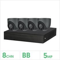 Eagle 8 Channel DVR with 4 Fixed Lens Turrets Kit (Grey), CVPLUS-8-4DOME-1TB-G