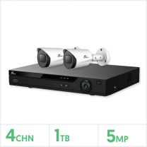 Eagle AHD CCTV Kit - 4 Channel 1TB Recorder with 2x 5MP Fixed Bullet Cameras (White), E-KIT-4-2BUL-5MP-1TB