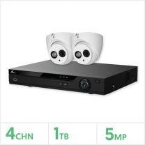 Eagle AHD CCTV Kit - 4 Channel 1TB Recorder with 2x 5MP Fixed Turret Cameras (White), E-KIT-4-2TUR-5MP-1TB
