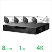 Eagle AHD CCTV Kit - 8 Channel 1TB Recorder with 4x 8MP Fixed Bullet Cameras (White), E-KIT-8-4BUL-8MP-1TB