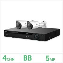 Eagle AHD CCTV Kit - 4 Channel BB Recorder with 2x 5MP Fixed Bullet Cameras (White), EAGLE-KIT-4-2BUL-5MP
