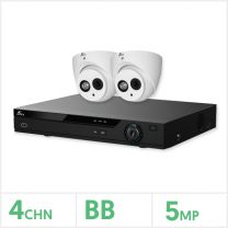 Eagle AHD CCTV Kit - 4 Channel BB Recorder with 2x 5MP Fixed Turret Cameras (White), EAGLE-KIT-4-2TUR-5MP
