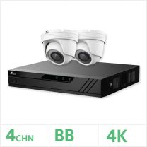 Eagle AHD CCTV Kit - 4 Channel BB Recorder with 2x 8MP Fixed Turret Cameras (White), EAGLE-KIT-4-2TUR-8MP