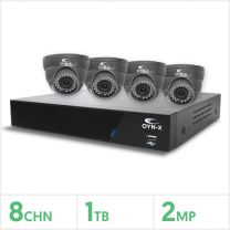 AHD CCTV Security Hard Wired Kit - 8 Channel 1TB Recorder with 4 x 2MP Fixed Turret Cameras (Grey), KIT3X-8-4-36F