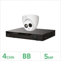 DVR Kit- 4 Channel BB Recorder with 1 x 5MP Fixed Turret Camera (White), POC-4CH-1CAM