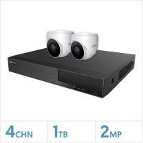 Viper NVR Kit - 4 Channel 1TB Recorder with 2 x 2MP Fixed Turret Cameras (White), VIPER-NVR-4-2KIT-2MP