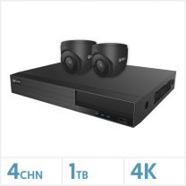Viper NVR Kit - 4 Channel 1TB Recorder with 2 x 4K Fixed Turret Cameras (Grey), VKIT-4K-2E-G