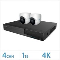 Viper NVR Kit - 4 Channel 1TB Recorder with 2 x 4K Fixed Turret Cameras (White), VKIT-4K-2E-W