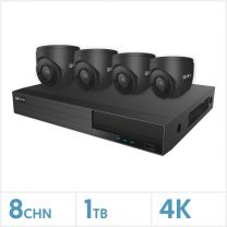 Viper NVR Kit - 8 Channel 1TB Recorder with 4 x 4K Fixed Turret Cameras (Grey), VKIT-4K-4E-G